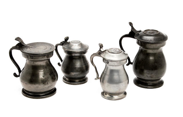 Three Scottish Imperial lidded bulbous measures