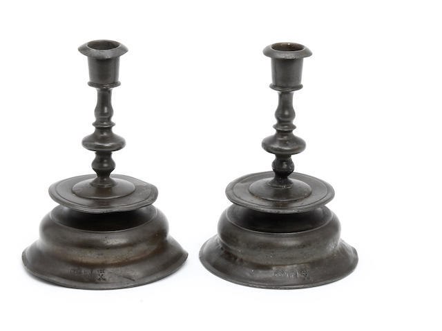 A pair of 17th century style Nuremberg-type candlesticks