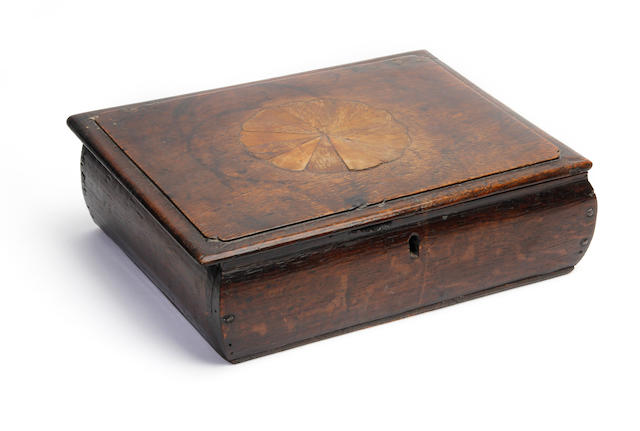An oak and inlaid lace box Constructed from 18th Century timbers
