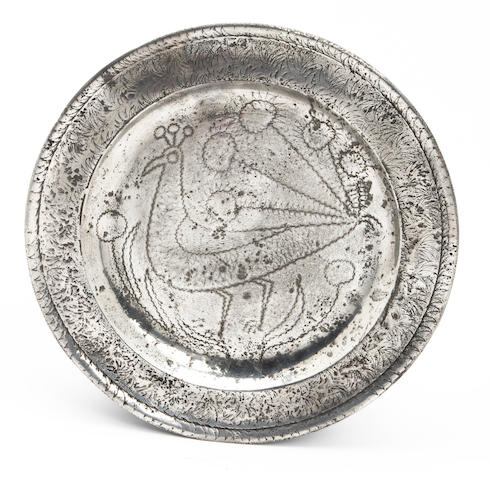 An early 18th century wriggle-work plate, circa 1710