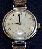 Rolex: An early silver cased  mid-sized wristwatch,London import marks for 1922,