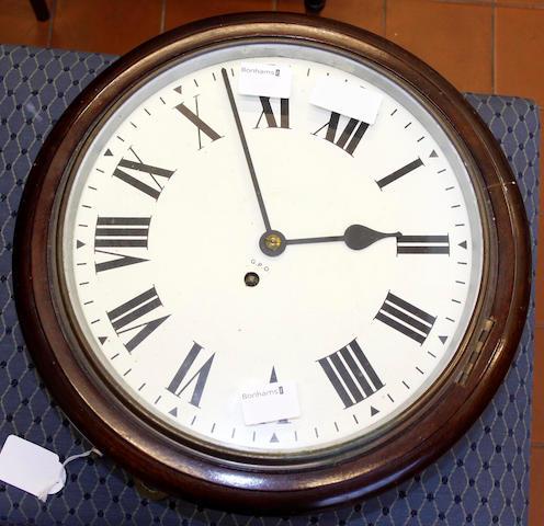 A GPO mahogany wall clock