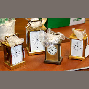 A collection of four brass carriage clocks 19th & 20th Century,
