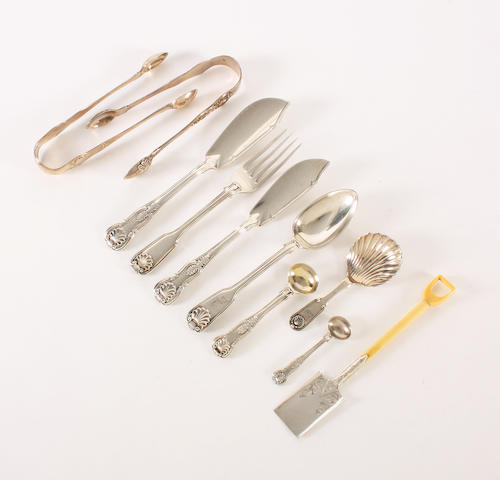 A collection of mainly 19th century silver King's pattern flatware Various dates and makers,  (10)