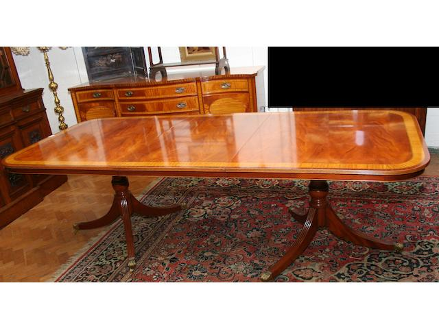 A George III-style mahogany & satinwood-inlaid part dining suite