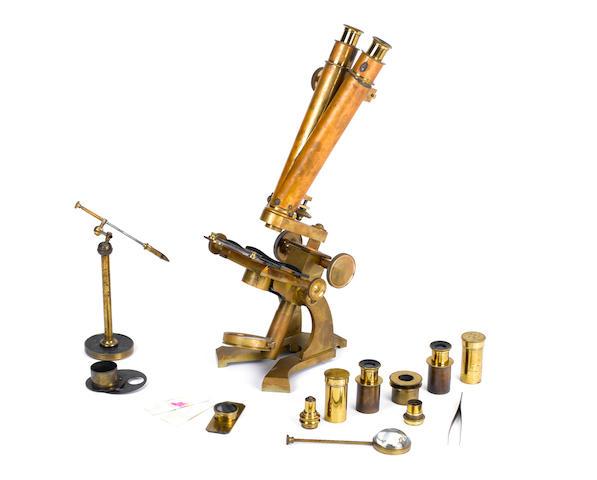 A brass binocular microscope, by I. C Robbins, late 19th century,