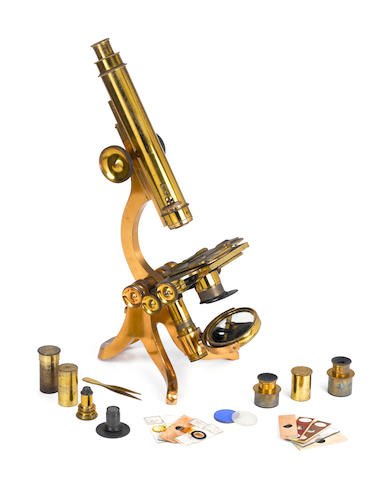 A brass compound monocular microscope,    English,  third quarter of the 19th century,