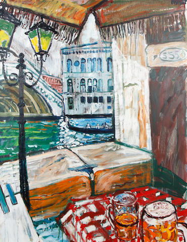 John Bratby R.A. (British, 1928-1992) View from a cafe, Venice