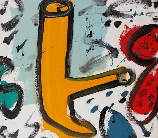 Alan Davie, (British, born 1920) Orange Composition 60.5 x 50.5 cm. (23 7/8 x 19 7/8 in.)