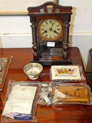 A late Victorian silk panel detailing 'Engagement of 2nd Batn., Cameronians Scottish Rifles Natal Field Forces ....', of scouting interest - a printed letter from Baden Powell enclosing a 'little badge', a typed card with Boy Scouts insignia 'To Mrs Gomm ....', and a Boy Scouts badge, late 19th Century mantel clock, pair of silver pepperettes, Sheffield 1931, two olivewood cigarette cases, military open face pocket watch, Hamilton Geneve wrist watch, wrist watch head, early Victorian transfer printed teabowl, silk postcard and The Coloured Language of Flowers.