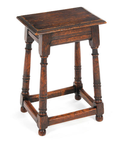 A 17th century style oak joint stool