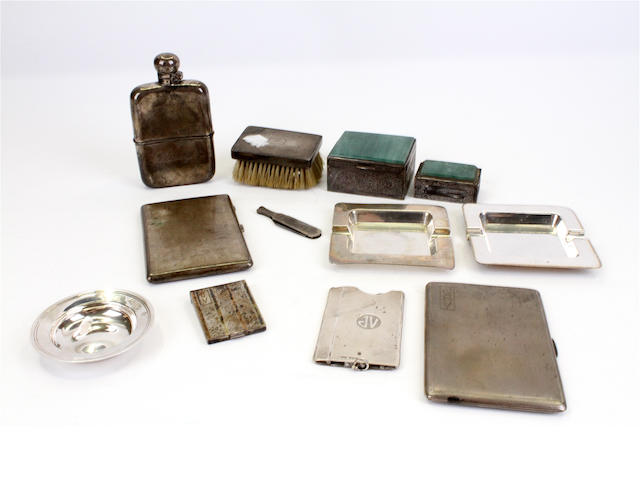 An Edwardian silver hip flask By Frederick C Asman & Co., Sheffield, 1902,  (11)