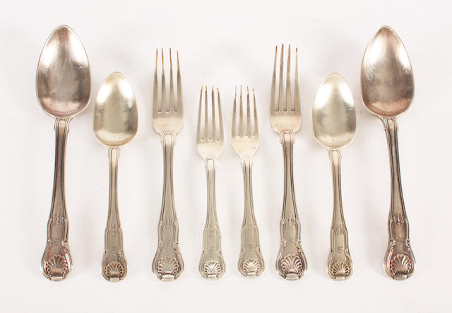 A George III  silver composite part canteen of fiddle, thread and shell pattern part flatware Of various dates and makers,  (19)