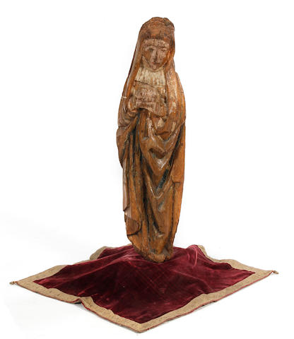 A carved and painted figure of the VirginProbably French, 17th century