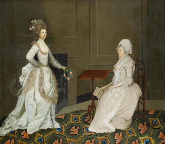 English School, early 19th century,  An interior conversation piece with two women, one reading the other holding a garland of flowers