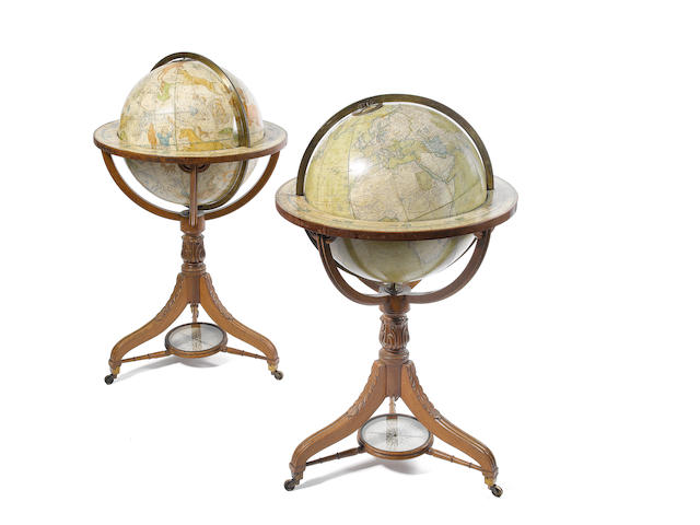 A pair of Bardin terrestrial and celestial library globes,  English,  mid 19th century,