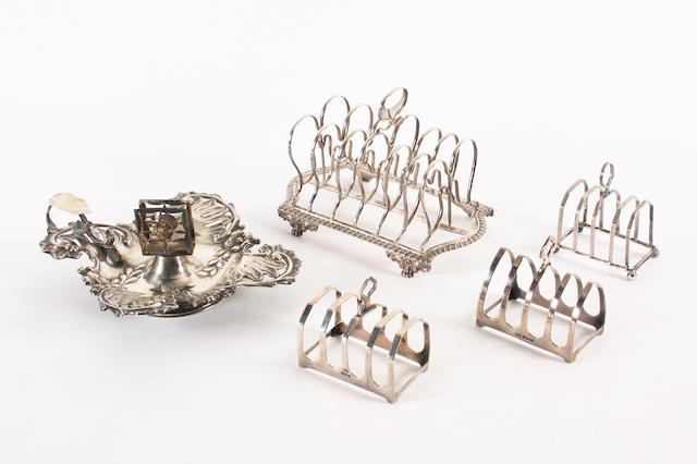 A George III silver seven-bar toast rack Maker's mark CH?, London, 1818,  (5)