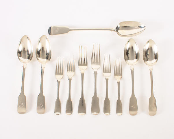 A silver composite part canteen of fiddle pattern flatware Various dates and makers,  (62)