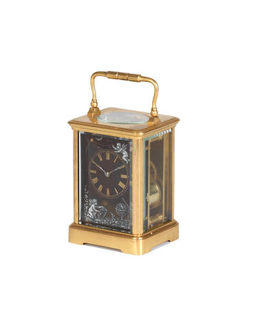 A composite French gilt brass and limoges carriage clock
