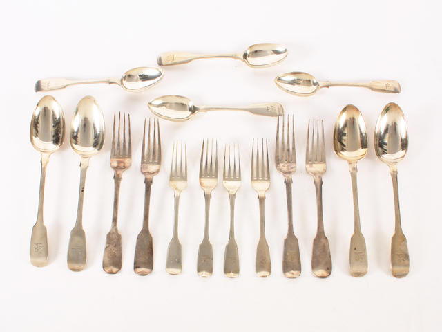 A 19th century silver composite part canteen of fiddle pattern flatware  (46)