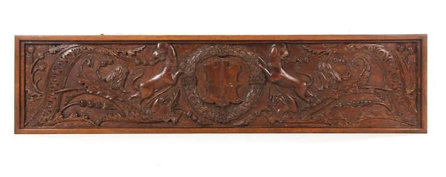 A 16th Century/17th Century carved oak frieze or panelPossibly once painted with the coat of arms of the Earls of Shrewsbury