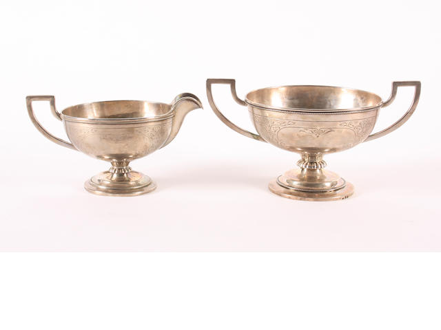 A Norwegian metalware sugar bowl and cream jug Possibly by N. M. Thune,  (2)