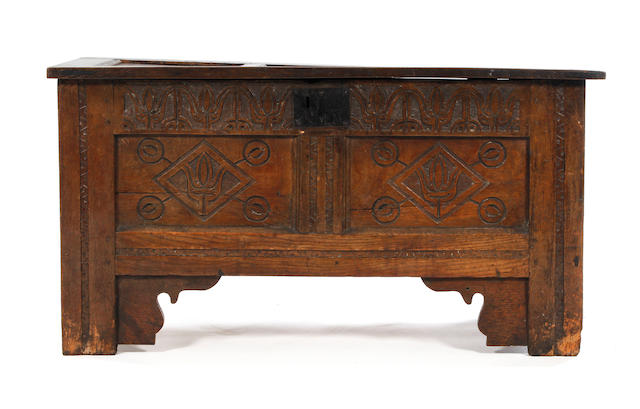 A Charles I oak coffer, Radnorshire, Wales