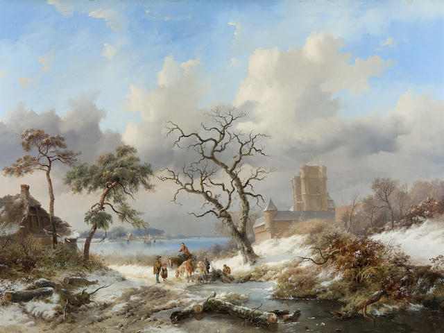 Frederik Marinus Kruseman (Dutch, 1816-1882) Winter landscape with figures