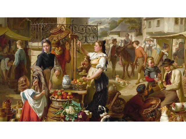 Théodore Gérard (Belgian, 1829-1895) Market day