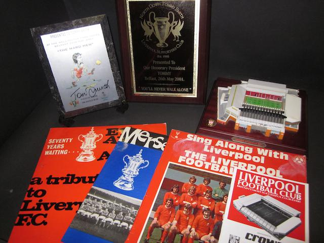Various Liverpool items - Anfield model, plaques, records