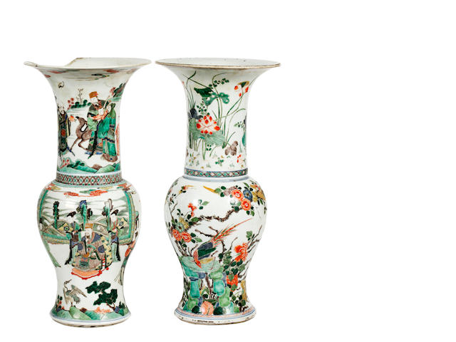 Two Chinese famille verte vases, 19th century