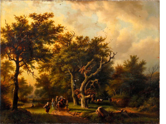 Follower of Barend Cornelis Koekkoek (Dutch, 1803-1862) The woodland road in Autumn