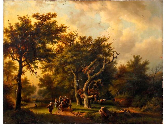 Follower of Barend Cornelis Koekkoek (Dutch, 1803-1862) The woodland road in Autumn