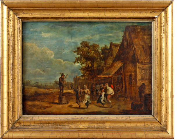 Follower of David Teniers the Younger (Antwerp 1610-1690 Brussels) Peasants dancing before an inn