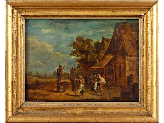 Follower of David Teniers the Younger (Antwerp 1610-1690 Brussels) Peasants dancing before an inn