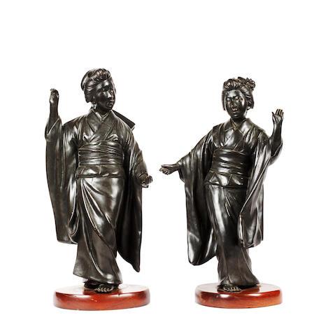 A pair of Japanese bronze figures of Bijin