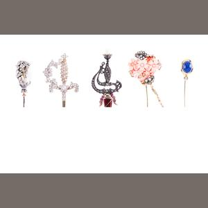 Five gem and diamond-set stick pins (5)
