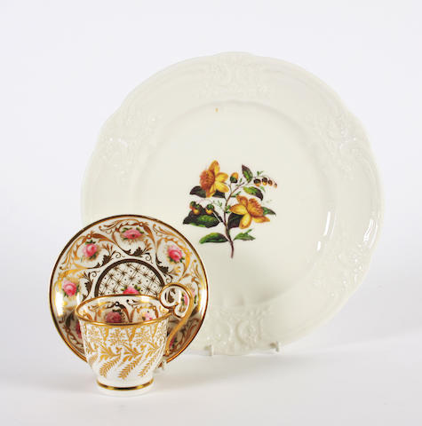 A Nantgarw plate and a Nantgarw coffee cup and matching Coalport saucer, circa 1818-20