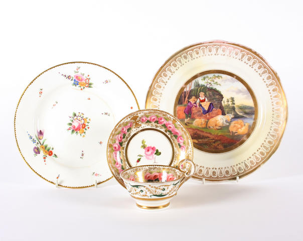 A Nantgarw teacup and saucer and two plates, circa 1818-20