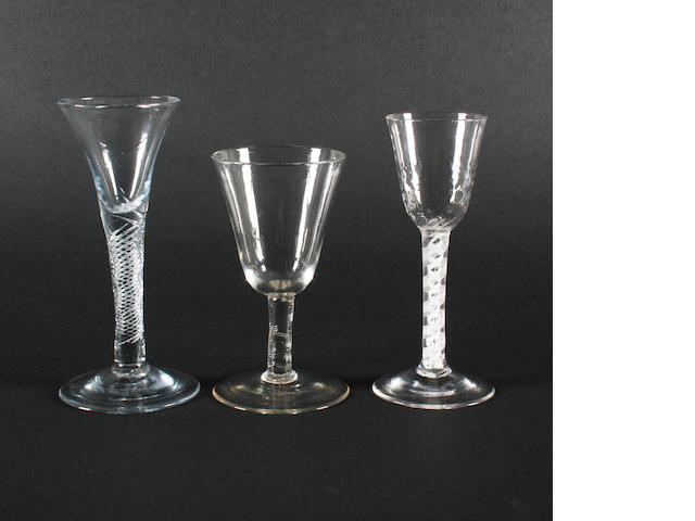 Three wine glasses, circa 1750-60