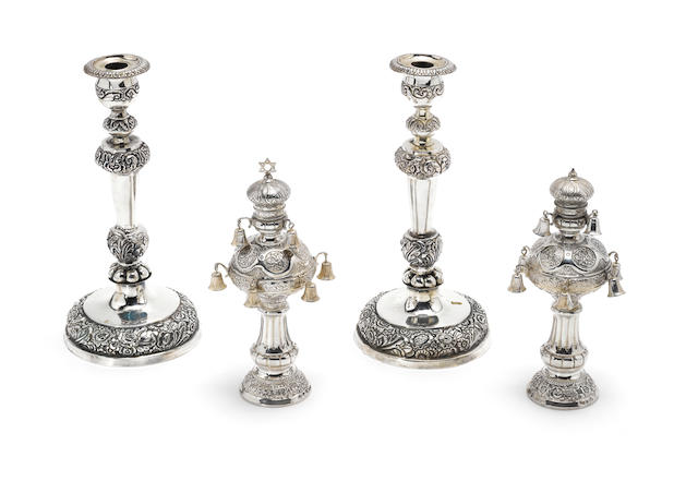 A pair of mid 19th century German silver candlesticks