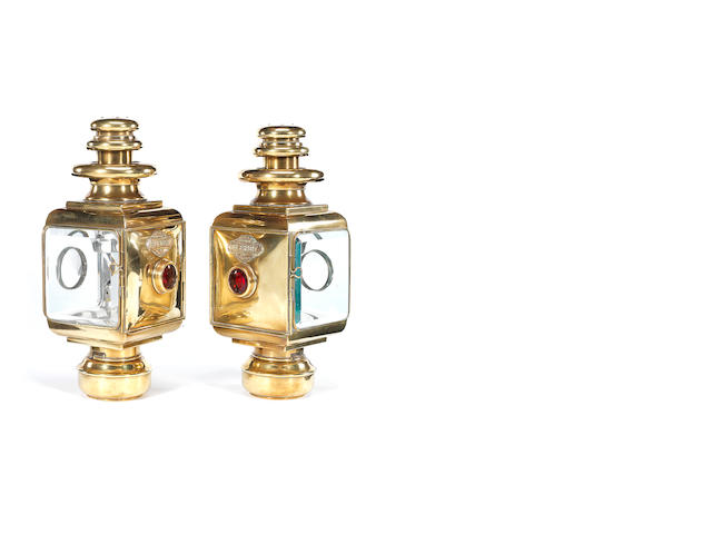 A fine matched pair of Blériot brass oil-illuminating opera side-lamps, French, circa 1908,