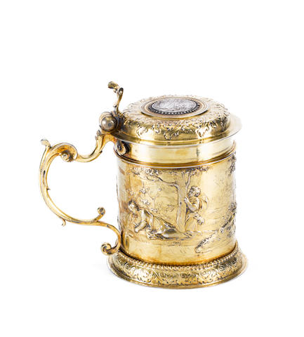 A late 17th century German silver-gilt tankard