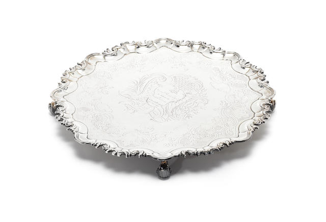 A George II Irish silver salver, by Michael Fowler, Dublin 1754,