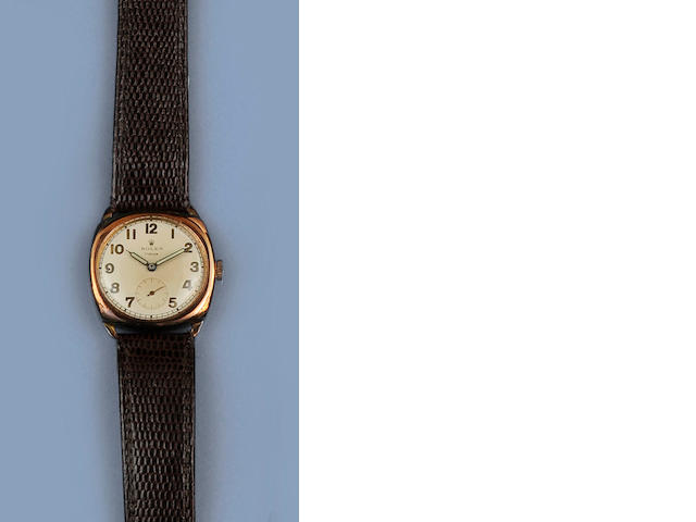 Tudor: A 9ct gold manual wind wristwatchChester Hallmark for 1950