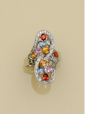 A multi-coloured sapphire dress ring