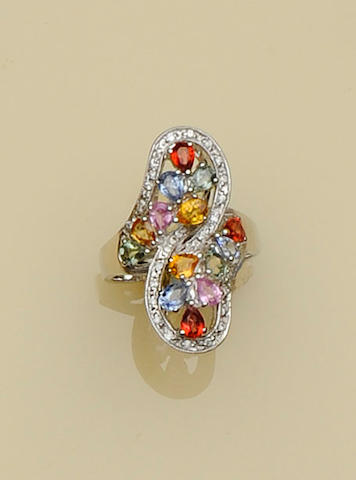 A multi-coloured sapphire dress ring