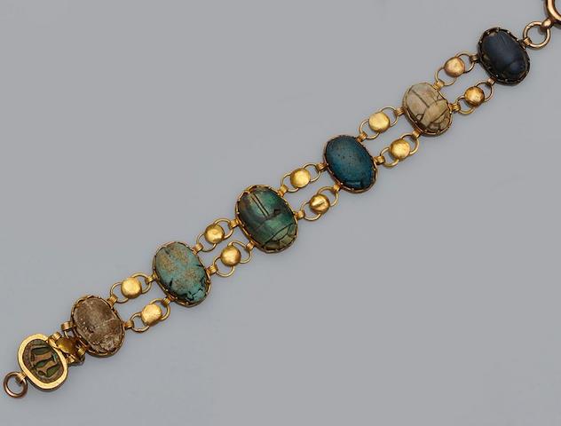 An Egyptian scarab bracelet
