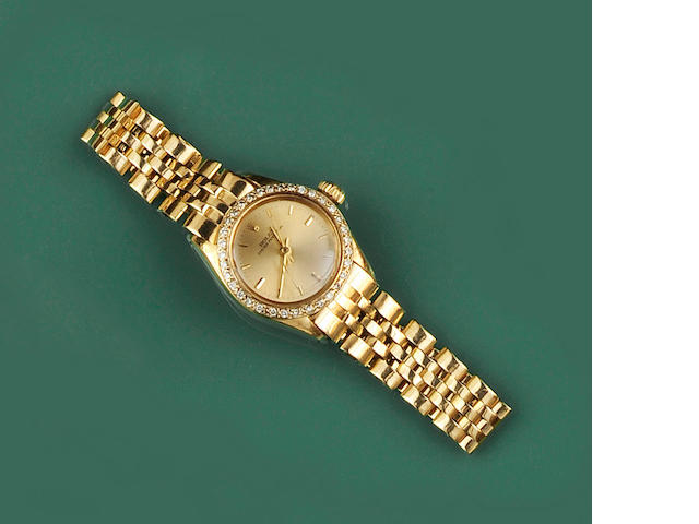 Rolex: A lady's diamond set Oyster Perpetual wristwatch