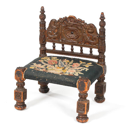 A 17th century and later carved walnut side chair Traces of gilt decoration